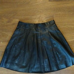 Banana Republic Faux Leather Black Skater Skirt